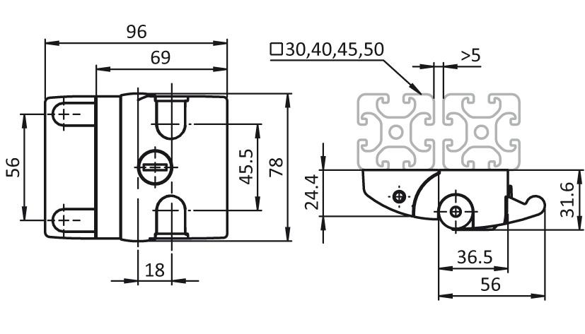 Slide Door Latch Compact 2D
