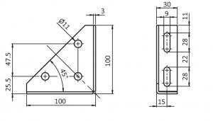 Stahlwinkel 30 / 100 – 3-Loch 093WV1004V 2D
